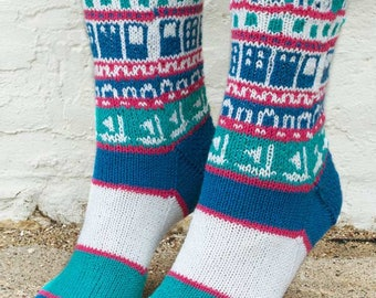Stranded in Mykonos Socks Knitting Pattern - PDF