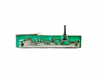Paris Skyline Tie Clip Inlaid in Hand Painted Glossy Enamel Classic Tie Bar Accent Assorted Colors and Personalization Available