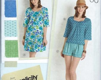 Simplicity Pattern 1879 Lisette Dress, Blouse & Shorts Misses Size 6, 8, 10, 12 and 14 UNCUT