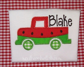 Watermelon Truck  Embroidered Appliqued Onesie or Shirt