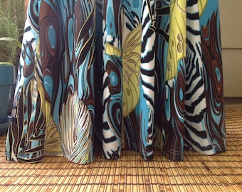 spilled paint abstract patterned maxi skirt ; one of a kind ; blue green and zebra print skirt