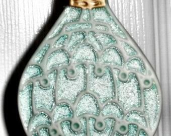 Porcelain Teardrop Christmas Ornament with Coralene