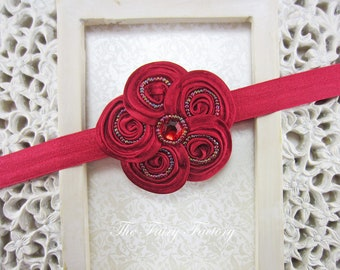 Red Flower Headband, Posh Mini Red Beaded Satin Flower Red Headband or Hair Clip, Christmas Headband, Baby Child Girls Headband