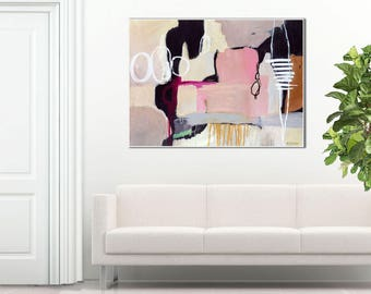Abstract painting print pink, abstract print gray pink, large abstract art pink, abstract art print, gift for her, giclee print, Glissade #2