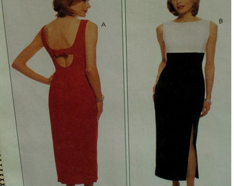 Open back Dress Pattern, Evening Wear, Sleeveless, Fitted, Straight, Side Slit, Empire Waist, Lined, McCalls No. 8858 UNCUT Size 4 6 8