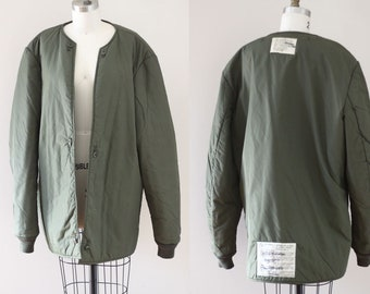 1970s army bomber shell // vintage quilted bomber jacket // vintage bomber jacket