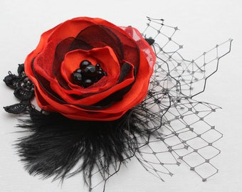 Red Black Headpiece, Veil With Flower, Black Birdcage Veil, Bachelorette party, Masquerade Mask Veil, Red Black Fascinator, Carm And Mystic