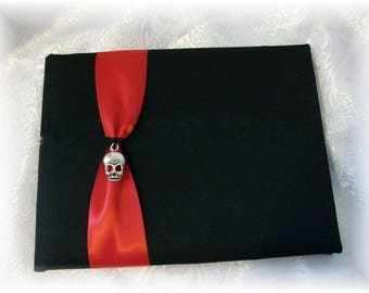 Gothic Wedding Skull Black Guest Book- Romona, Goth Wedding, Halloween Wedding Guest Book. many colors available