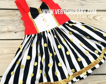Circus Dress, Circus Costume, Ringmaster Dress, Circus Birthday Outfit, Circus Twirly Dress Girls Boutique