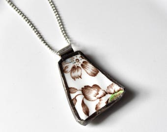 Broken China Jewelry Pendant - Green Brown White and Blue