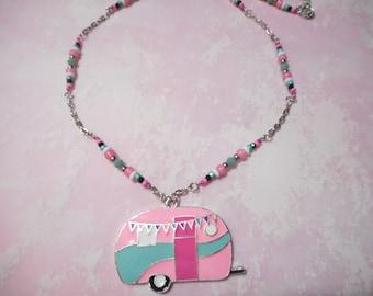 Brand New Retro Camper Pink Enamel Pendant Chain Necklace