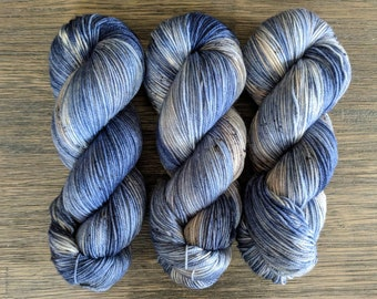 Hand Dyed Yarn - 'Welcome to the Rock' - Sole Sock - Superwash Merino Nylon - blue, brown, being, black, speckles - 420 yards