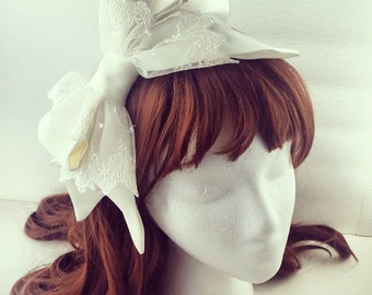 Classic Lolita Hairbow Sidebow Ivory