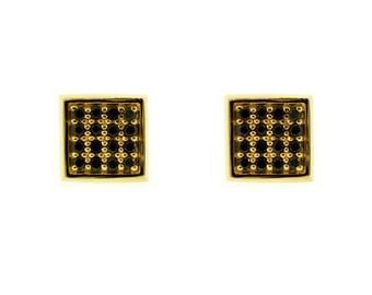 18k yellow gold black diamond earrings cuadrado