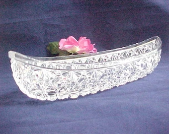 Antique Glassware Celery Canoe Boat, 1880s EAPG Duncan Octagon Rosette aka Daisy & Button Relish Serving Dish, Early American Pattern Glass