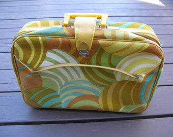 Vintage Yellow Mod Print Zippered Canvas Suitcase, K Gimble, Made in Japan, 1960s