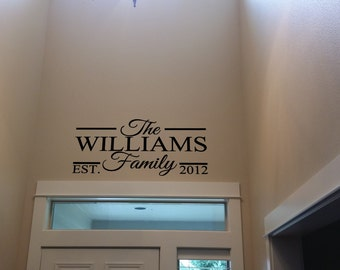 Family Established Wall Decal, Family Last Name Decal, Family Wall Decal, Established Family Sign, Wall Decor Decal, Last Name Decal