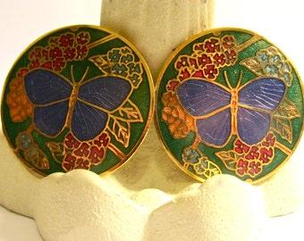 Stunning vintage cloisonne butterfly clip earrings