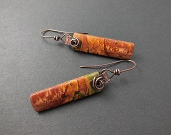 Picasso jasper dangle earrings-copper and stone dangles