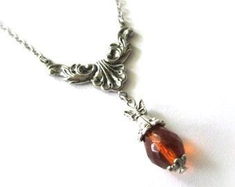 Amber drop necklace flower jewelry antiqued silver vintage victorian style simple honey necklace amber teardrop crystal bead