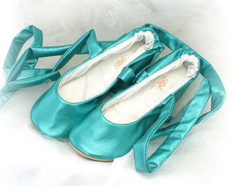 Wedding Ballet Slippers Shoes Teal Turquoise Faux Leather Flats Elegant Comfortable