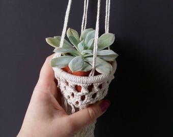 Miniature Hanging planter - Modern Macrame - Hanging Succulent decor - Macrame planter - Eco macrame - Office wall hanger