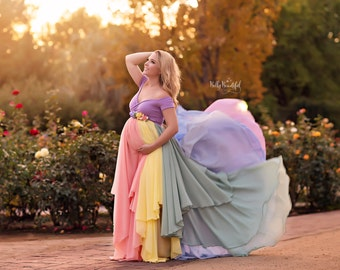 HOPE Gown {Pastel} • Rainbow Maternity Gown • Sheer Maternity Gown • Rainbow Baby Gown • Rainbow Dress • Mult-Color Dress • Maternity Photos