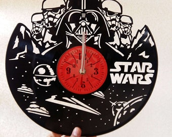 "STAR WARS Dark Side VINyL RECoRD CLOCK made from 12"" Vinyl Record best gift for kids bedroom gift for star wars fans Sith vs Jedi"