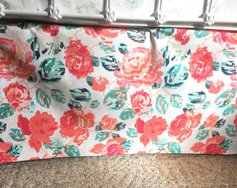 Baby bedding, Crib Bedding - Crib Skirt - Floral Watercolor - Coral, Pink, Mint