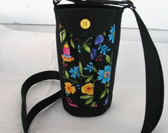 Water Bottle Holder Sling//Walkers Insulated Water Bottle Cross Body Bag// Hikers Water Bottle Bag- Black with Flowers