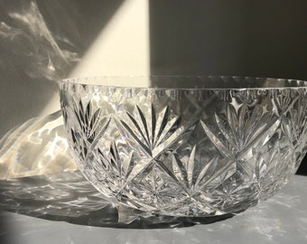 Vintage Crystal Glass Serving Bowl Made in England