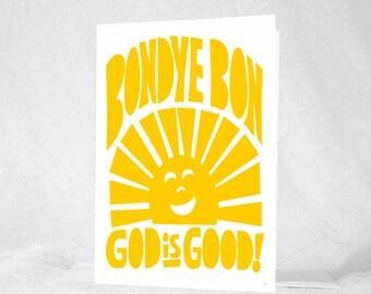 Bondye Bon, Haiti, Haitian Creole, God is Good, shower Gift, Haiti Adoption, Kids Room Art, Haiti, Haitian Affirmation, Adoption Card