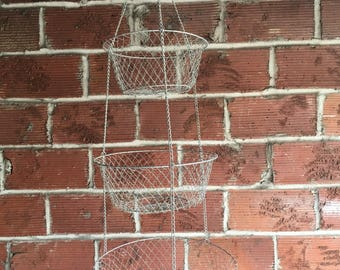 Three-Tiered Vintage Wire Hanging Fruit Basket