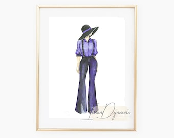 Blue Outfit Time Fashion Illustration Print