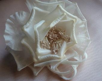 Deep Ivory Silk Flower Millinery Rose for Bridal Sashes,  Fascinator or Hat Design, Costume or Home Decor MF 133