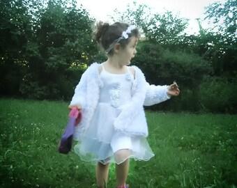 White Children Cardigan, Knit White Cardigan girl 3 - 4 years by Solandia, baptism, formal christening wedding,