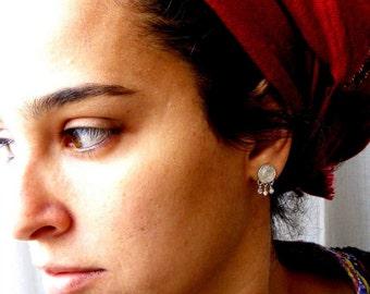 SILVER STUD earrings, silver earrings, earrings silver, small studs, filigree earrings, ethnic earrings, gypsy earrings, silver posts, posts