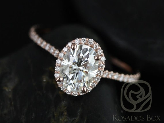 Rosados Box Rachel 8x6mm 14kt Rose Gold Oval F1- Moissanite and Diamonds Halo Engagement Ring