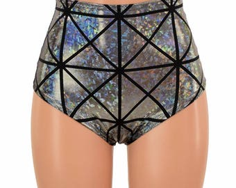 "High Waist ""Siren"" Hot Pants in Silver on Black Cracked Tile Print Spandex Rave Festival Clubwear Sparkly - 154885"