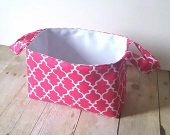 Pink Lattice Fabric Storage Basket - Diaper Caddy - Toy Storage