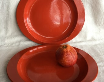 Vintage Rustic Red Enamelware Camping Plates, Metal Dinner Plates, Farmhouse Serving Dishes, Oval Picnic Plates
