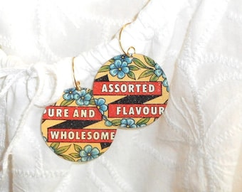Recycled Tin Flower Earrings, Vintage Candy Tin becomes Upcycled Flowers on your Ears, Forget-Me-Not Shabby Chic Earrings