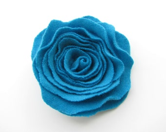 Rose Pin Cashmere Felted Wool Rose Brooch Turquoise Blue Recycled Wool Flower Pin