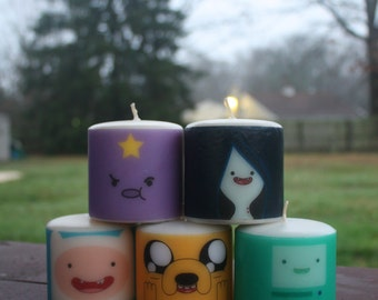 Set of ANY FIVE Adventure Time Candles Medium Pillar Unscented