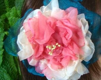 Handmade Fabric Flower pale Pink cream Belly dance Silk Flower Clip headband comb Extra Large handmade Rose