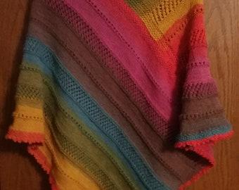 Striped Ladies Knit Poncho