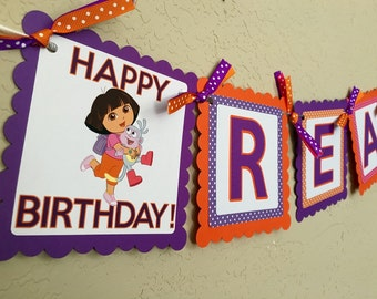 "NEW STYLE ""2 IN 1"" Dora Birthday Banner, Dora The Explorer Birthday Party, Dora The Explorer Birthday, Dora The Explorer Party, Dora"