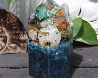 Orgonite® - Mermaid - Crystal Point - Orgone Generator® - Anxiety - Crystals - Handmade - EMF Protection - Quartz - Good Vibes - HoodXHippie