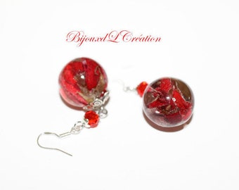 Stud Earrings bubble resin geranium flowers dried with Silver 925