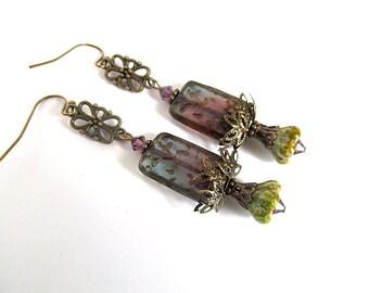 Neo Victorian Earrings, Antiqued Bronze Filigree, Czech Glass Bead Dangles, Vintage Brass Jewelry, Purple Boho Earrings, FTD Awareness